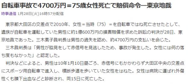 自転車事故で4700万円=75歳女性死亡で賠償命令・東京地裁 (時事通信)   Yahoo ニュース